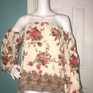 Rose Off-Shoulder Blouse Women's Large by Angie
